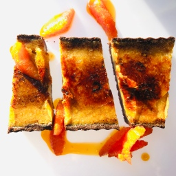 Not-so-spooky Black Licorice Brûlée Tart with Caramelized Oranges